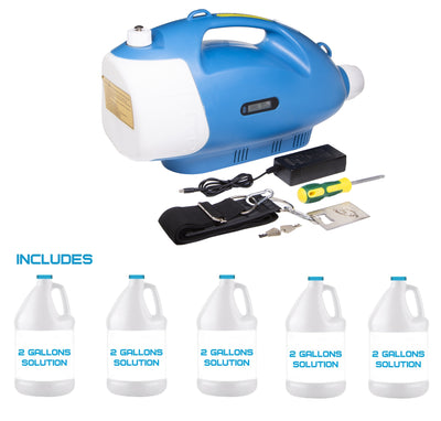 Cordless Cold Fogger Disinfectant Sprayer 3 Liter SF230 with 5 Gallons of Disinfectant Solution(Commercial or Residential) - Sanifog Safety Supplies
