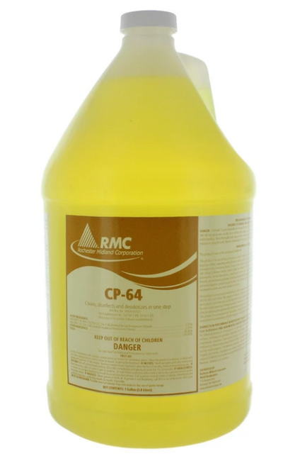 RMC CP-64 DISINFECTANT CLEANER CONCENTRATE, 2 OUNCES MAKES 1 GALLON - ULV Cold Fogger Machine Backpack sanitizer portable thermal Sanifog Disinfectant Solution Chemical Fogger Machine Cordless Handheld Electric Sprayer Disinfecting for Hospitals Dental Office Room School Church Restaurant Home 5L 3L 16L Liter 24V 240W