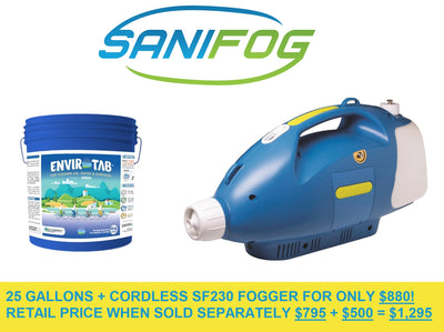 25 Gallons of Disinfectant Solution with Cordless Cold Fogger Sprayer SF230 fogger for $880 (Commercial or Residential) LIMITED OFFER 15 days - ULV Cold Fogger Machine Backpack sanitizer portable thermal Sanifog Disinfectant Solution Chemical Fogger Machine Cordless Handheld Electric Sprayer Disinfecting for Hospitals Dental Office Room School Church Restaurant Home 5L 3L 16L Liter 24V 240W