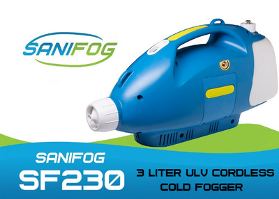 Cordless Cold Fogger Disinfectant Sprayer 3 Liter SF230 with 10 Gallons of Disinfectant Solution(Commercial or Residential) - ULV Cold Fogger Machine Backpack sanitizer portable thermal Sanifog Disinfectant Solution Chemical Fogger Machine Cordless Handheld Electric Sprayer Disinfecting for Hospitals Dental Office Room School Church Restaurant Home 5L 3L 16L Liter 24V 240W