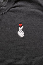 Load image into Gallery viewer, Korean Heart Gesture Embroidered Crewneck Sweater (Unisex Adult)