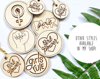 "Wooden ""Girls Rule"" Pin"