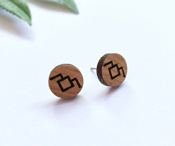 Twin Peaks Stud Earrings, Walnut Wood