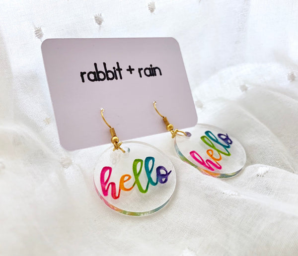 Hello Rainbow Earrings, Clear Hand-Painted Acrylic