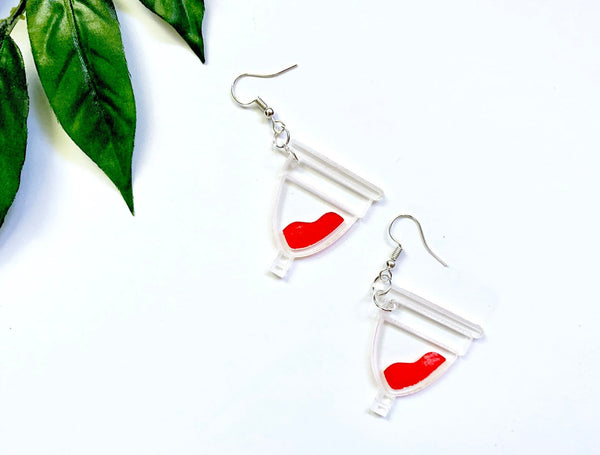 Menstrual Cup Earrings, Handpainted Acrylic