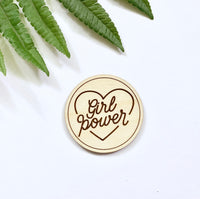 Wooden Girl Power Pin