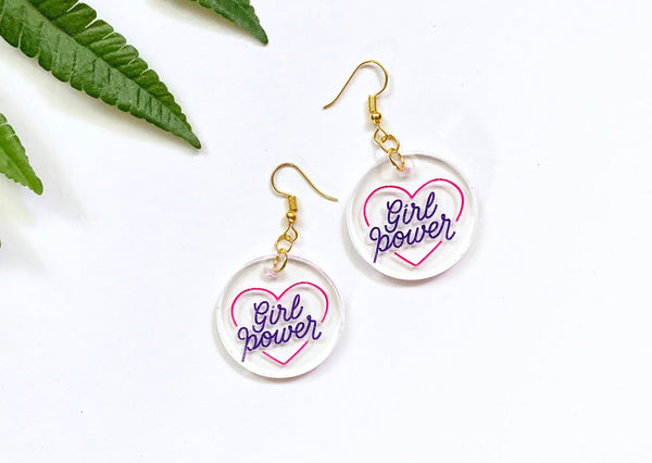 Girl Power Earrings, Clear Hand-Painted Acrylic