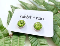 St Patrick's Day Earrings, Green Sparkly Studs