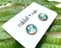 Glow in the Dark Moon Stud Earrings