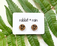 Transgender Symbol Stud Earrings, Walnut Wood