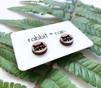Raccoon Stud Earrings, Walnut Wood