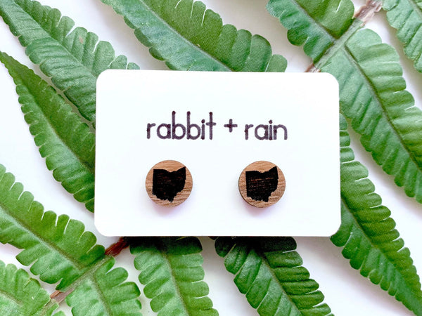 Ohio State Stud Earrings, Walnut Wood