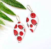 Raspberry Earrings, Vegan Faux Leather