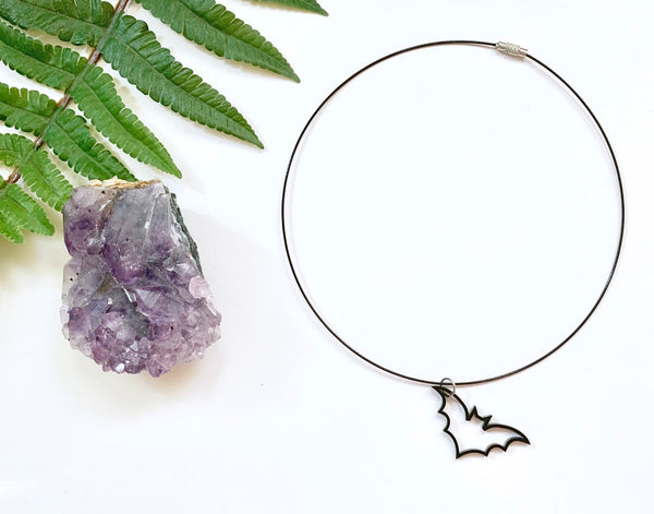Acrylic Bat Choker Necklace