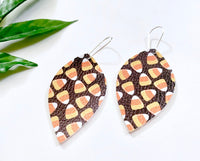 Candy Corn Earrings, Vegan Faux Leather