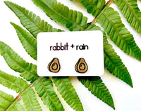 Avocado Stud Earrings, Walnut Hardwood