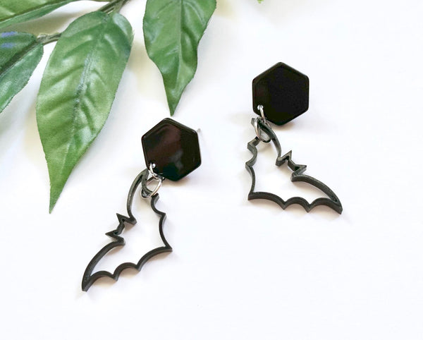 Vampy Dangling Stud Bat Earrings