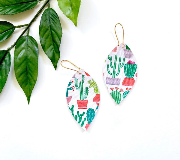 Prickly Cactus Earrings, Vegan Faux Leather
