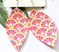 Pink Grapefruit Earrings, Vegan Faux Leather
