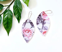 Rose and Web Earrings, Vegan Faux Leather