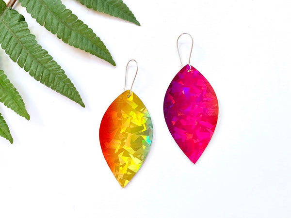 Holographic Rainbow Earrings, Vegan Faux Leather Petals
