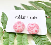 Pink Geometric Studs, Abstract Fabric Earrings
