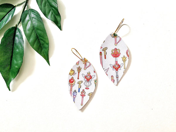 Sailor Moon Wand Earrings, Vegan Faux Leather
