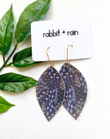 Wildflower Earrings, Vegan Faux Leather