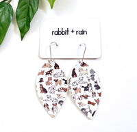 Dog Party Earrings, Faux Leather Petals