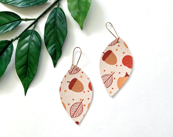Autumn Festival Earrings, Vegan Faux Leather