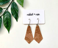 Floral Embossed Vegan Leather Earrings