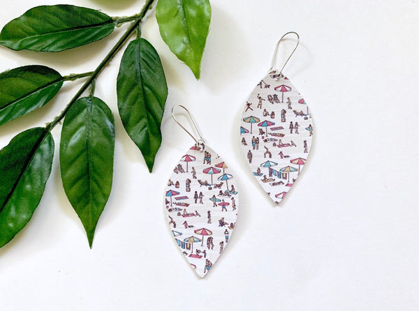 Day at the Beach Earrings, Faux Leather Petals