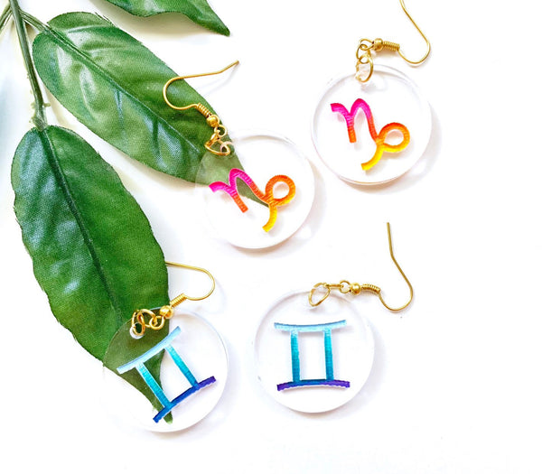 Zodiac Earrings, Clear Acrylic