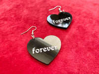 Forever Goth Heart Earrings, Acrylic