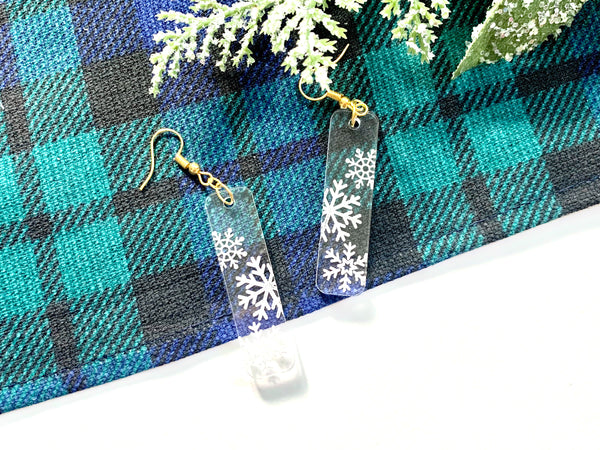 Clear Snowflake Bar Earrings, Acrylic
