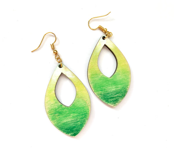 Green Ombré Earrings, Distressed Birch