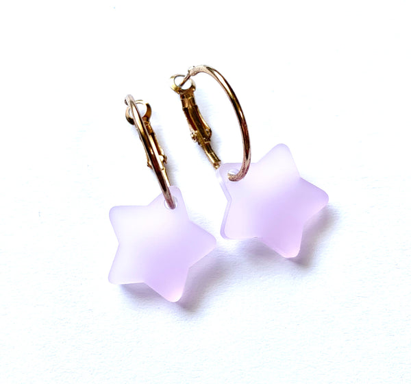 Lavender Frosted Star Hoop Earrings