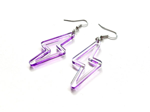 Clear + Purple Lightning Bolt Earrings, Acrylic with Hand-painted Edge