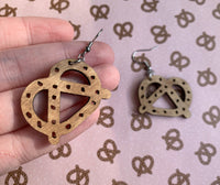 Salty Pretzel Earrings, Wood