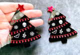 Goth Christmas Tree Earrings