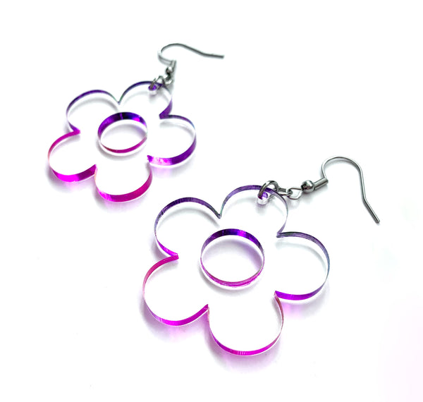 Pink and Purple Ombre Daisy Earrings, Acrylic
