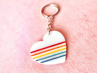 Retro Rainbow Heart Keychain