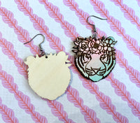 Carole the Tiger Queen Earrings, Wood