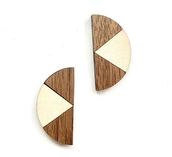 Wood + Wood Half Moon Studs, Maple and Walnut
