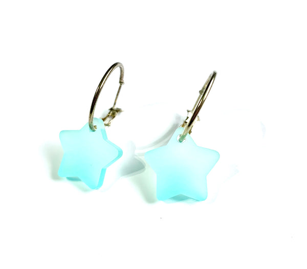 Blue Frosted Star Hoop Earrings