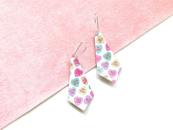 Conversation Heart Earrings, Vegan Faux Leather