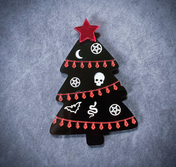 Goth Christmas Tree Brooch