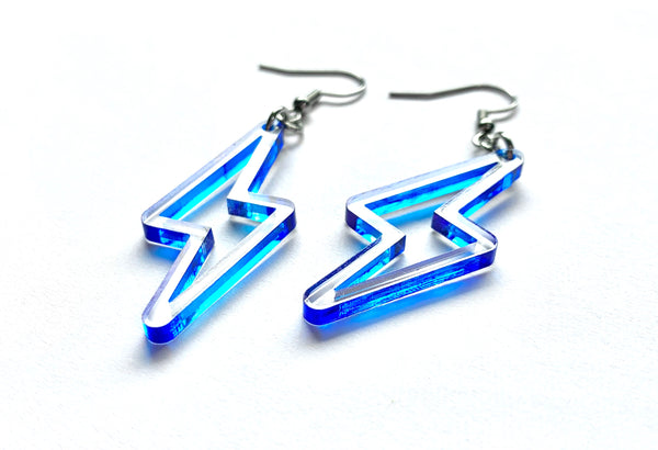 Clear + Blue Lightning Bolt Earrings, Acrylic with Hand-painted Edge