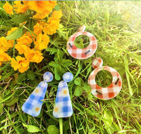 Blue Gingham and Daisy Earrings