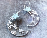 Celestial Snow Hoop Earrings